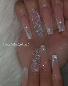 Bling Acrylic Nails, Acrylic Nails Coffin Short, White Acrylic Nails, Summer Acrylic Nails, Best Acrylic Nails, Pink Nails, Gel Nails, Glitter Ombre Nails, Ballerina Acrylic Nails