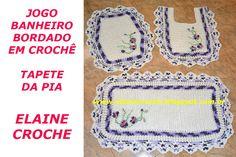 JOGO BANHEIRO BORDADO TAPETE PIA CROCHÊ