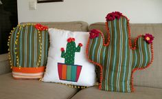 Cactus Craft, Cactus Decor, Diy Home Crafts, Sewing Crafts, Sewing Projects, Dyi Pillows, Decorative Pillows, Cushions, Cute Bedroom Ideas