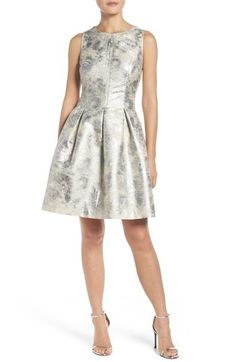 """A downright frosty metallic fit-and-flare mini by Vince Camuto. 
