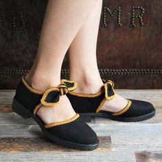 F-TROUPE - Wool Brocade Bow Shoe Sandal (Black) / エフトゥループ・ウールリボンサンダル