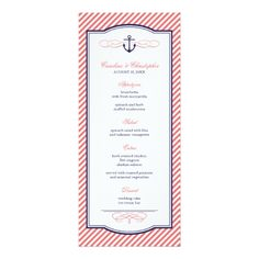 Nautical Wedding Menu Navy and Coral Nautical Anchor Wedding Menu Card