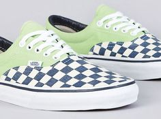 "26191cab4c The Vans Era Van Doren ""Green Checker"" is the latest model to drop from the  ""Van Doren"" Collection. Featuring a Light Green base with a checkered Blue  and ..."