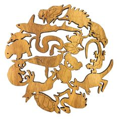 Buttonworks Wooden Trivet Australian Animals - Protect your table from hot dishes with this quirky pot stand. Australian made.