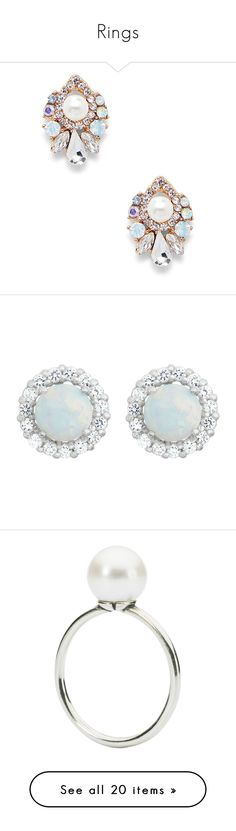 """""""Rings"""" by whitney-anne-dodd ❤ liked on Polyvore featuring jewelry, earrings, pearl combo, pearl jewellery, white pearl stud earrings, studded jewelry, earring jewelry, pearl earrings jewellery, white gold and white gold opal earrings"""