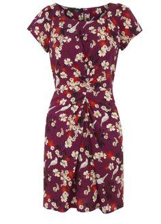 Flower and Bird Print Dress