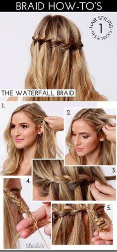 How to Make a Beautiful Waterfall Braid: Waterfall Braid Tutorials ...