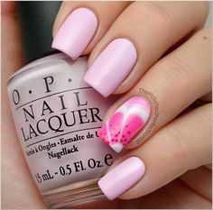 Pink Floral Water Marble Nail Art