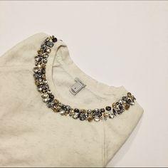 J.Crew ivory necklace bejeweled sweater J.Crew ivory necklace bejeweled sweater. Practically BRAND NEW - worn one time J. Crew Sweaters Crew & Scoop Necks