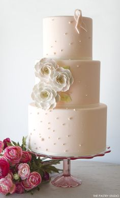 Romantic Pink Ribbon Cake with Briar Rose Sugarflowers | CaljavaOnline.com
