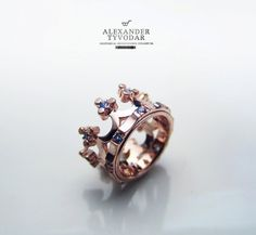 Crown silver/ rose gold / blue topaz Crown silver ring by TYVODAR