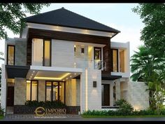 Agon Private House Design - Jakarta- Quality house design of architectural services, experienced professional Bali Villa Tropical designs from Emporio Architect. House Arch Design, Home Design, Modern Small House Design, Bungalow House Design, Minimalist House Design, Villa Design, Floor Design, Townhouse Exterior, Jakarta