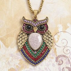 Amazing vibrant Mexican influenced owl pendant from Talbot Fashions