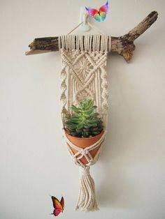 Macrame Plant Hanger Wall Hanging fits Mini Pot Indoor Vertical Garden Handcrafted Home Decor Interior Design Suspended Plants Woven  <br> Handmade Home, Upcycled Crafts, Diy And Crafts, Yarn Wall Art, Macrame Plant Hangers, Macrame Plant Hanger Patterns, Macrame Design, Macrame Projects, Crochet Projects