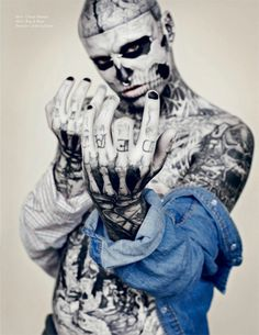 Rick Genest! Skeletal Tattoos by Zombie boy