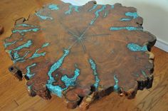 Mesquite table with turquoise inlay!