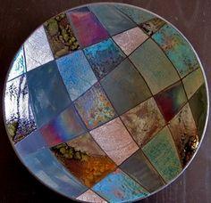 Fire Art Pottery-patchwork-raku plate