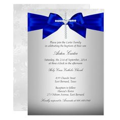 Royal Blue White Silver Cross Baptism Invitation #baptism #communion #christening #baptisms #first #Invitation