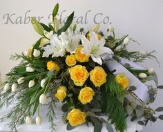 Sweet Casket Spray with Yellow Roses, White Tulips, and Lilies. Funeral Flower Arrangements, Funeral Flowers, Floral Arrangements, White Tulips, Yellow Roses, White Roses, Funeral Caskets, Casket Flowers, Funeral Quotes