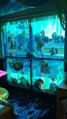"Sometimes, kid's room decor needs to change according to the season, such as when it is getting into summer, the ""under the sea"" theme would be perfect for yo Under The Sea Theme, Under The Sea Party, Ocean Themes, Beach Themes, Under The Sea Decorations, Ocean Party Decorations, Halloween Decorations, Underwater Party, Party Mottos"