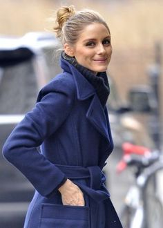 Olivia Palermo in Blue wool coat out in New York City