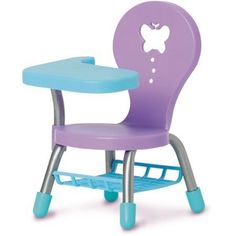 School Chair for the 18 Doll Blue and Purple * Be sure to check out this awesome product. Baby Alive Dolls, Baby Dolls, Baby Toys Sale, Disney Frozen Toys, Barbie Camper, Cool Fidget Toys, Barbie Doll Set, American Girl Wellie Wishers, School Chairs