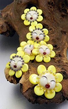 Glassactcc Sunshine Peeperettes Handmade Lampworked Glass Beads Jewelry SRA | eBay
