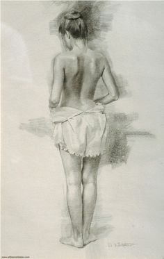 Contemporary artist William Whitaker (b. female discreet semi-nude posterior back standing woman figure drawing. Female Drawing, Human Figure Drawing, Body Drawing, Life Drawing, Drawing Sketches, Female Art, Sexy Drawings, Art Drawings, Art Japonais