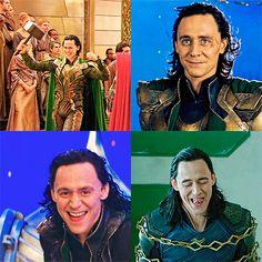 So happy! #TomHiddleston #Loki. Gif-set: http://maryxglz.tumblr.com/post/173800740607/so-happy