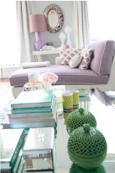 small NYC apartment looks larger and glamorous in lilac and mint with lots of glass reflection <3