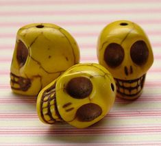 Yellow faux howlite skull beads by kitschbeadsUK on Etsy