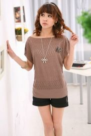 Sweetie Short Sleeve Knitting Sweater - BuyTrends.com