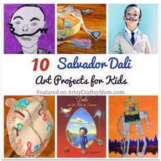 Salvador Dali was no ordinary person, & his art proves it! Teach kids to think outside the box with these 10 Surrealist Salvador Dali Art Projects for Kids. for kids 10 Surrealist Salvador Dali Art Projects for Kids Kids Art Class, Art Lessons For Kids, Art Lessons Elementary, Art For Kids, Famous Artists For Kids, Salvador Dali Paintings, Frida Art, School Art Projects, Art History Projects For Kids