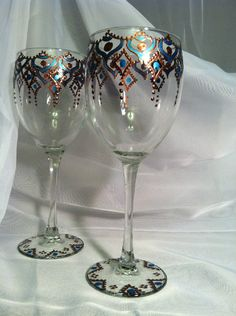 Henna Wine Glasses