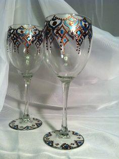 Henna Wine Glasses
