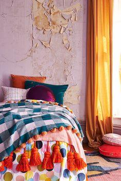 Reversible quilt cover in giant confetti colour wheel (multi coloured) / free spirited dream catcher (pink/peach) 100% cotton, 310 thread count Machine wash