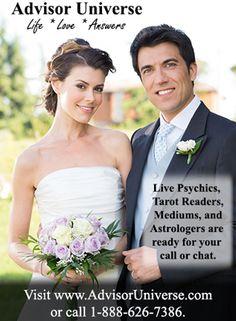 Get answers to your questions about love, life, the future, and much more!  Advisor Universe's Psychic, Tarot Card Readers, Astrologers, and Mediums are standing by to talk or chat with you.  Whether your questions are about family members, friends, finances, the past, present, or future - our Psychic Advisors can help you!  Don't struggle with difficult decisions or problematic relationships.  Simply give us a call and we would be happy to help you! Find out more at…