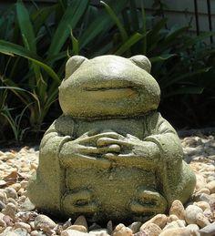 Large Meditating Frog Garden Stone Sculpture