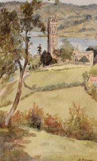 """Blagdon Church, Somerset, 1919 Beryl G Wright (20th Century British School) Signed B Bruce (Bruce was Wright's maiden name) lower right and inscribed and dated to the reverse Watercolour on paper In a cream, conservation grade mount (matt) In very good condition Watercolour: 13.2 x 8 cm (visible); mount: 25.5 x 20.4 cm (10"""" x 8"""") Visit our Frames page to view and select a frame for this work"""