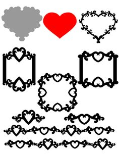 Heart Card and Decorative borders SVG cut files and Templates