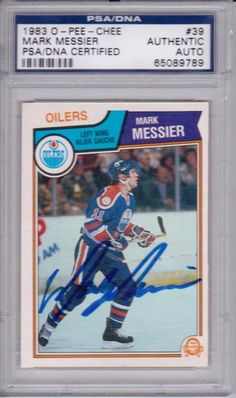 278026666 MARK MESSIER Signed 1983 O-PEE-CHEE slabbed Card
