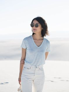 Classic, cool and comfortable.  Linen V-neck tee.