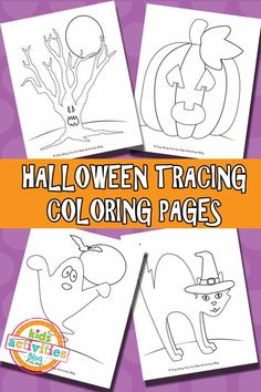 Halloween Tracing Coloring Pages {Free Printable}