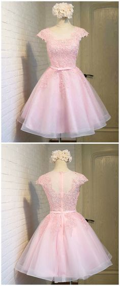 Custom made-to-order formal dress by GemGrace. Multiple colors and all sizes available. Additional photos also available upon request. Cute Blush Pink Illusion Lace Prom Dress 2016, Homecoming Dress 2016