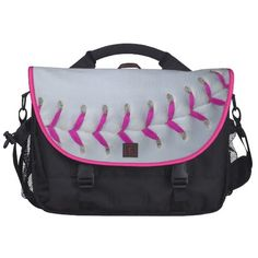 Pink Stitches Baseball / Softball Laptop Messenger Bag