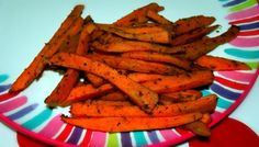 Baked Sweet Potato Fries  1 Tbsp Olive Oil  1 Egg white  2 large sweet potatoes skinned  Roasted Potato Wedges Seasoning-------  Preheat oven to 450 degrees   Cut Sweet Potatoes into strips  Boil for 20 minutes  Cook on skillet with 1 tbsp olive oil, 1 egg white and Seasoning for 10 minutes  Bake in oven for 20 minutes