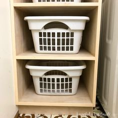 Organize your laundry room with this stackable laundry basket storage. This easy to build shelf unit is the perfect laundry basket organizer so you can keep your dirty laundry hidden. Get the build plans from Housefulofhandmade.com.