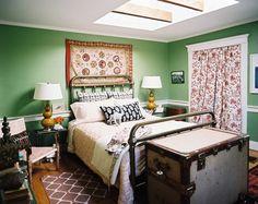 John Robshaw Home - Green Bedroom