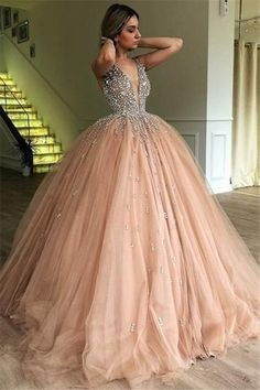 3424d06e241d Sparkly Ball Gown Deep V-neck Beading Tulle Princess Prom Dresses Z1844