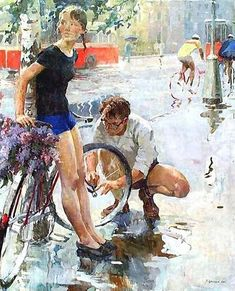 Victor Tsvetkov The Bicycle Ride 1965 Russian Painting, Russian Art, Figure Painting, Bicycle Painting, Bicycle Art, Socialist Realism, Soviet Art, Illustration Art, Illustrations